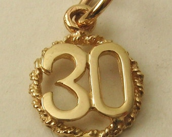 Genuine SOLID 9ct YELLOW GOLD 30 th birthday anniversary charm pendant