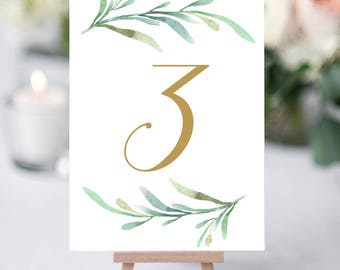 "Greenery wedding table numbers template, printable reception table number - 5x7 inches and 4x6"". DIY number cards. Edit in WORD or PAGES"