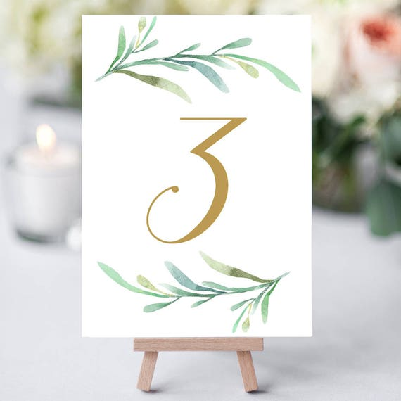 """Greenery wedding table numbers template, printable reception table number - 5x7 inches and 4x6"""". DIY number cards. Edit in WORD or PAGES"""