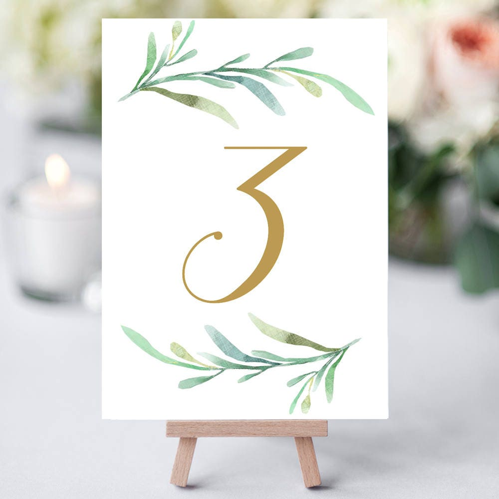 Greenery Wedding Table Numbers Template Printable Reception Table - Wedding table numbers template