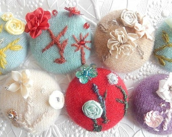 Cashmere embroidered brooch, embellished coat pin, glove accent, hat jewelry,