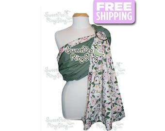 Baby Ring Sling SweetPea Ring Sling Made in the USA  Infant Carrier Wrap Reversible Babywearing  Floral Green Pink Toddler Supportive Olive