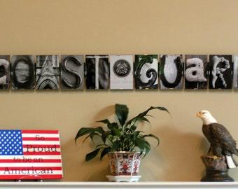 US Coast Guard, Military Retirement, Letter Picture Art, Alphabet Photography, Patriotic, Birthday,Anniversary,Veteran,Retirement,Graduation