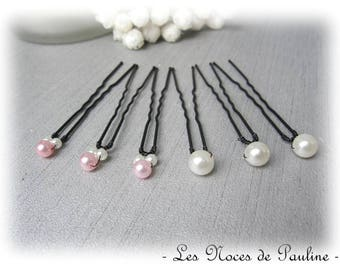 Ivory and pink hair simple set of 6 Pearl wedding bridal hair pins