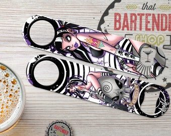 Special Edition: Sweet Emo Girl (1A) by Martin Abel | Punk Rock Personalized Speed Flat Bottle Openers  | Add Name/Text | FREE SPINNER RING