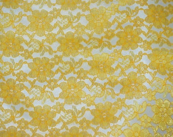 Yellow rachelle lace flower mesh sheer polyester home decor by the yard