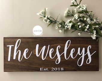 Family name sign~established sign~wedding gift~anniversary gift~housewarming gift