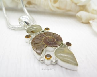 Rutilated Quartz Ammonite Fossil and Citrine Sterling Silver Pendant and Chain