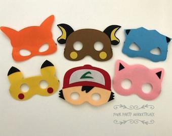 SET OF 6 Pokemon Masks, Pokemon Party Favors, Pokemon Birthday, Pokemon Banner, Pokemon Party, Pikachu Party, Pokemon, Pikachu