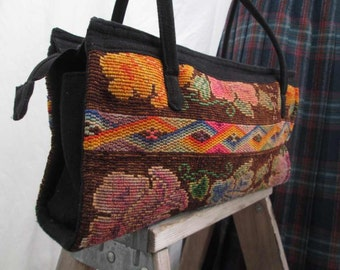 80s Ethnic handbag Vintage Guatemala purse Floral Black geometric designs Purse Orange pink Roses Handbag