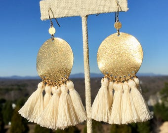 Stardust Brass Circle/ Tassel Earrings/ Cream Tassels/ Mini Tassels/ Statement Tassel Earrings