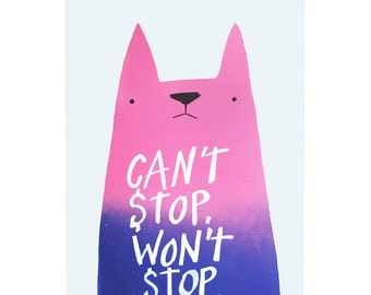 Can't Stop Cat A3 Art Print