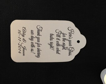 Here is your glass for the night  Personalized Wedding Drink Tag Fill It Up favor tags Here's Your Glass