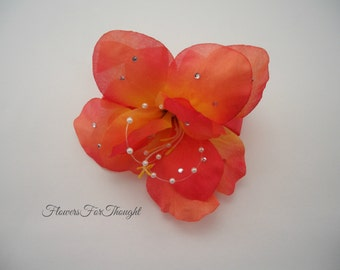 Coral Flower Wrist Corsage, Tropical beach wedding, Special Occasion