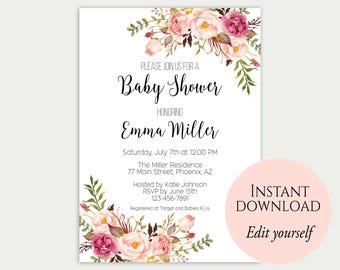 Baby shower invitation template diy editable baby shower baby shower invitation template baby shower invite baby shower printable floral baby shower editable pdf diy baby shower template c1 solutioingenieria