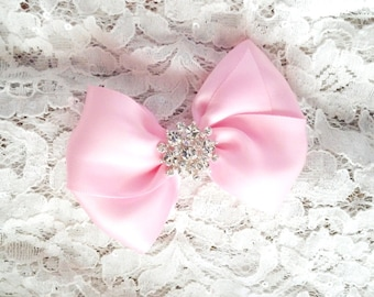 Girls Hair Bow with Rhinestone Center, Pink Flower Girl Hair Bow, Light Pink Hair Bow, Pageant Bow