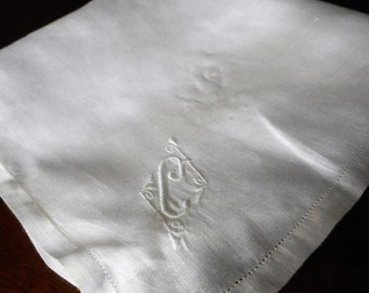Large VINTAGE White Embroidered Monogram Initial C Linen Handkerchief