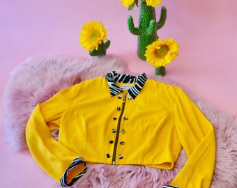 Bright yellow vintage 80s cropped jacket with zebra collar and cuffs