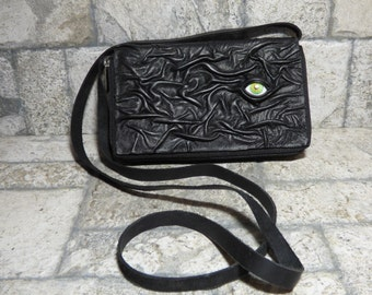 Wallet Purse Cross Body Fixed Strap With Eye Hocus Pocus Black Leather 392