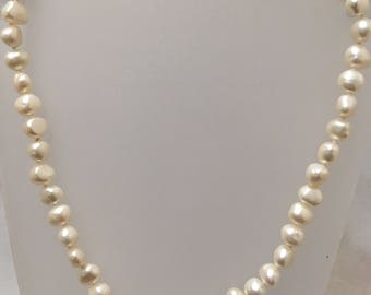 8-9mm baroque white freshwater pearl necklace