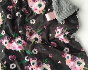 DARK BOHO FLORAL >> baby boy blanket, baby girl blanket, soft cuddle blanket, minky blanket, stroller blanket, faux fur blanket, pla