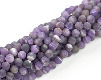 Gorgeous Matte Amethyst Beads, High Quality in Matt Round, 4mm, 6mm, 8mm, 10mm, 12mm- Full 15.5 Inch strand