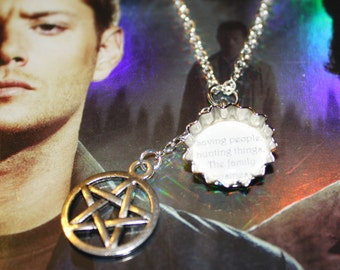 Supernatural Sam Dean Winchester inspired mini Bottle Cap Quote Charm necklace 'Saving People, hunting things. The family business'