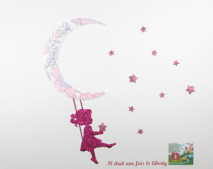 Applied fusing girl swing Moon glitter flex fusible patterns blotter liberty Betsy liberty fabric star applique