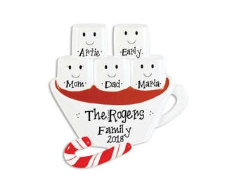 5 Marshmallows Hot Chocolate Family Ornament / Friends Ornament / Personalized Christmas Ornament / Hand Personalized
