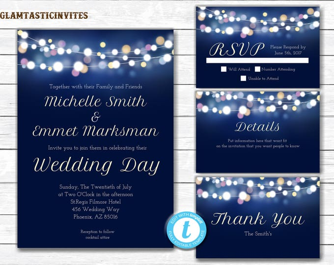 Wedding Invitation, Navy Blue Wedding Invitation, Wedding Invitation Template, Elegant Wedding Invitation, Wedding Template Set, YOU EDIT
