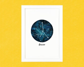 Cancer Zodiac Luxury Watercolour Illustration Print - A5 or A4