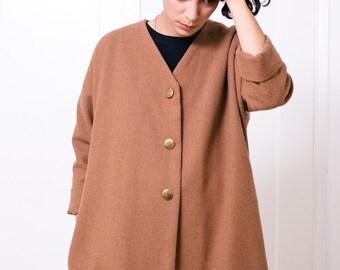 Women's coat Wool coat Spring coat Autumn coat Oversized coat Short coat Ochre color coat Simple coat Basic coat Minimal jacket