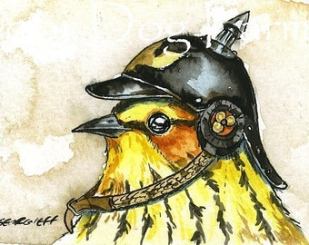 ACEO signed Print - Birds in Helmets n0. 3