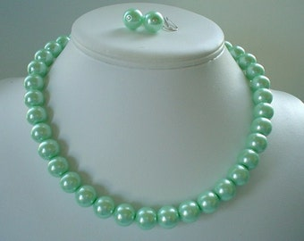 Chunky Mint Apple Green Glass Pearl Beaded Necklace and Earring Set Great Bridesmaid Gifts