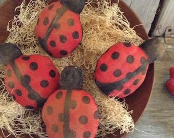 Primitive Lady Bug Pattern Spring Folk Art