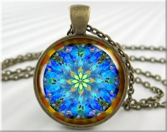 Blue Mandala Pendant, Resin Charm, Mandala Art Jewelry, Blue Accessory, Kaleidoscope Style Necklace, Gift Under 20, Round Bronze 208RB