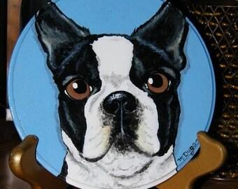 Custom Pet Portrait on wood circle plaque - handpainted