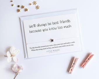 Wish Bracelet, friendship bracelet, birthday gift, funny birthday card, Wish bracelets, best friend gift, star bracelet, funny gift for her,