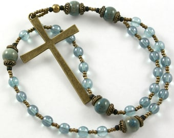 Anglican Rosary Prayer Beads in Bronze and Soft Blue