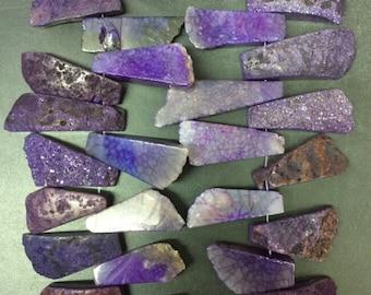 Approx 28pcs Natural titanium agate quartz agate pendants,rough freeform slice purple drusy druzy agate slab necklaces 16-25x30-48mm