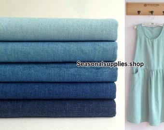 Summer Denim Cotton Fabric, Washed Denim, A sturdy, often blue denim,Solid Color,Plain,5 Kinds Blue for choice,diy,Sewing 1/2 yard (QT141A)