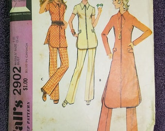 McCall's 2902 Women's Nehru/Tunic Top/Blouse Misses Size 12/34 Retro 60s Vintage Sewing Pattern