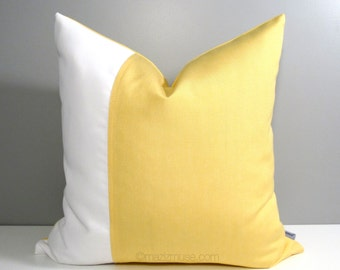 White & Yellow Outdoor Pillow Cover, Buttercup Yellow Sunbrella Pillow Cover, Decorative Color Block Pillow Cover, Cushion Cover, Mazizmuse