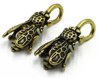 Golden Bee ear Weights plugs hoop 2pcs earring Body Piercing Jewelry