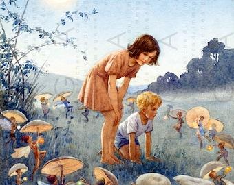 CHILDREN Inside FAIRY RING. Stunning Fairy Tale Illustration. Vintage Fairy Digital Download. Antique Fairy Printable.