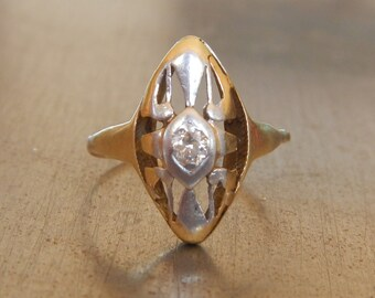 Art Nouveau Diamond Ring-Antique Diamond Ring-Vintage Platinum Gold Diamond Ring - Downton Abbey-Right Hand Ring-Vintage Arts and Crafts
