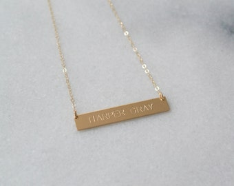 Mother's Day Gift, Baby Name, Nameplate Necklace, Gold Bar Necklace, Custom, Personalized, 14k Gold Fill, Rose Gold Fill or Sterling Silver