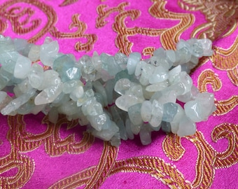 Aquamarine gemstone chips~Aquamarine strand~Aquamarine~Jewelry making