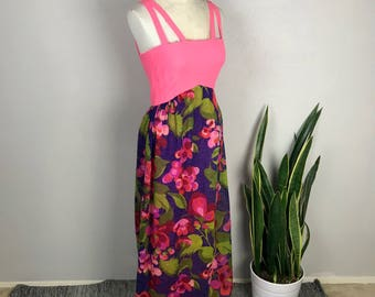 1960s/1970s Pink/Purple Floral Maxi Dress