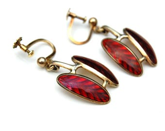 Vintage Hroar Prydz Enamel Sterling Norwegian Red  Earrings 925 S Norway two-tone red feather design glossy enamel & gold wash silver finish